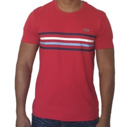 T-shirt LACOSTE Rayé Rouge